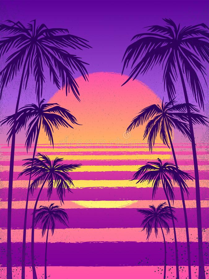 Sunset with palm trees, trendy purple background. Vector illustration, design element for congratulation cards, print vector illustration