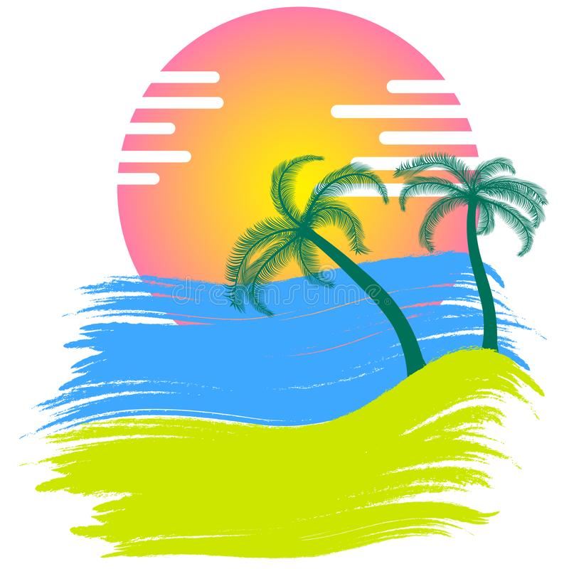 Sunset with palm trees vector. Illustration stock illustration