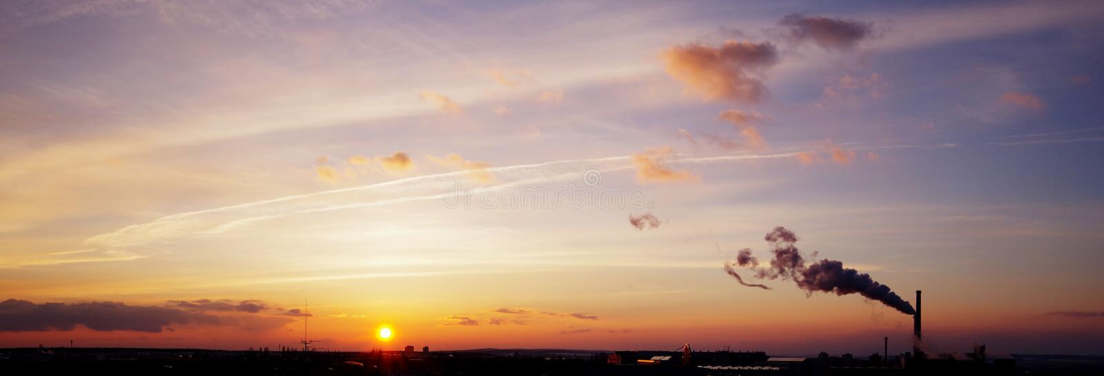 Sunset panorama royalty free stock photography