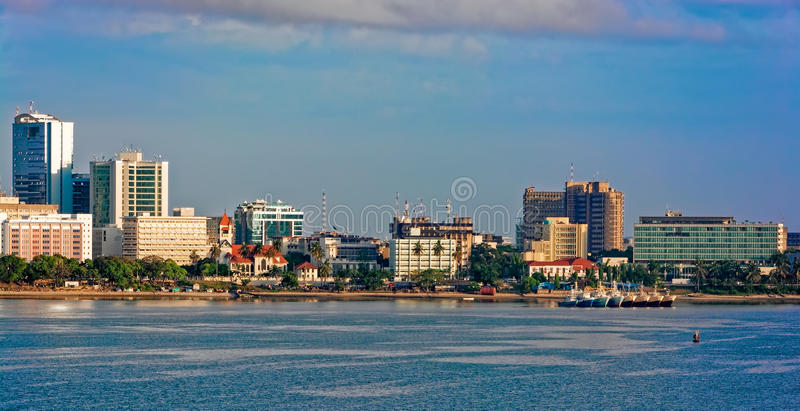 Sunset panorama of Dar Es Salaam City Centre royalty free stock images