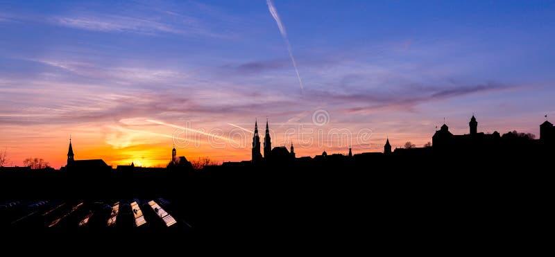 Sunset panorama Nuremberg, Germany stock photo