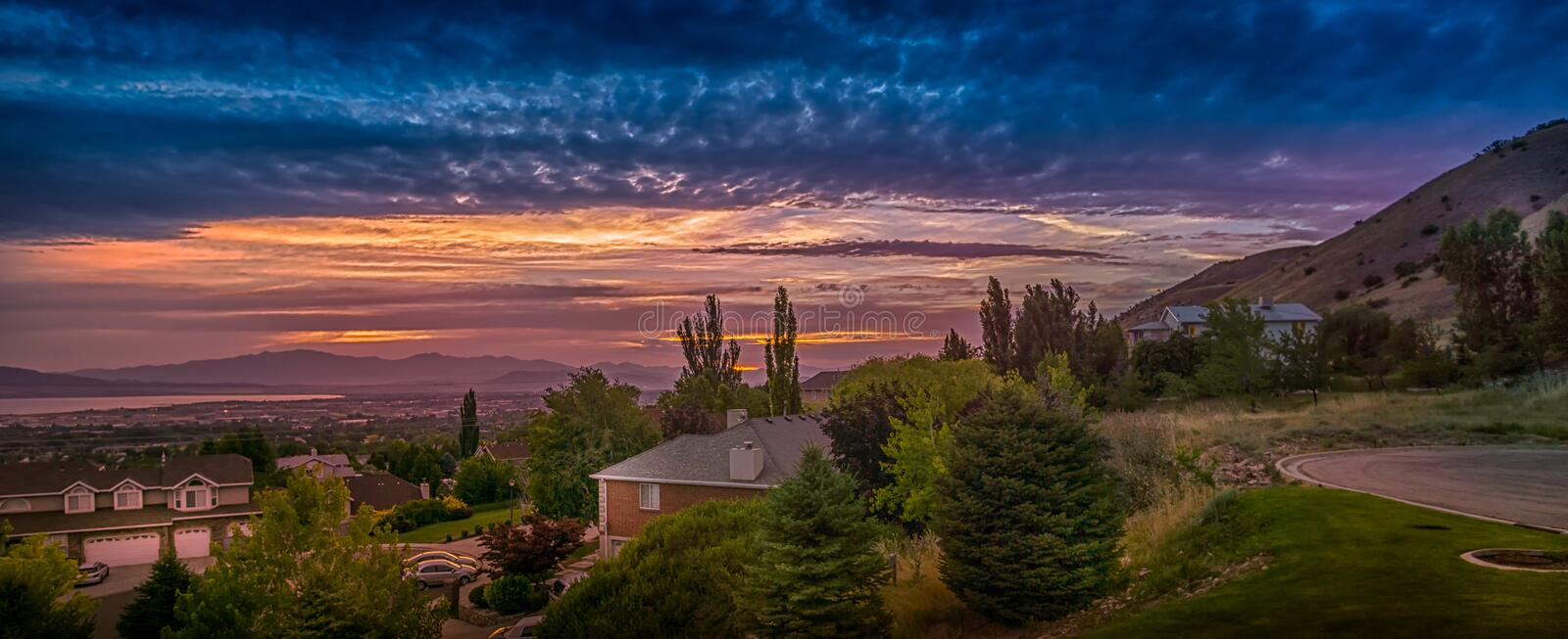 Sunset panorama in Utah Valley, Utah, USA. Sunset panorama in Utah Valley, Utah, USA with views of Orem and Lindon cities royalty free stock image