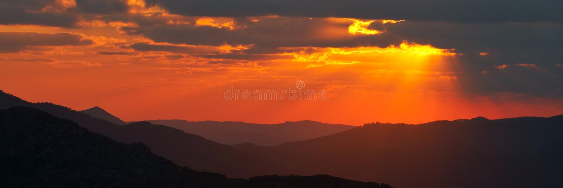Sunset panoramic of spring season royalty free stock photography