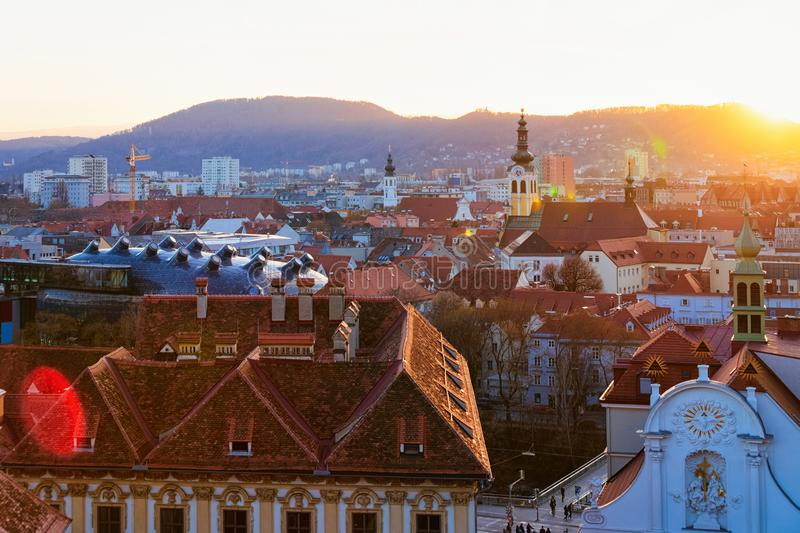 Sunset and Panoramic view and cityscape in Old city of Graz royalty free stock photography