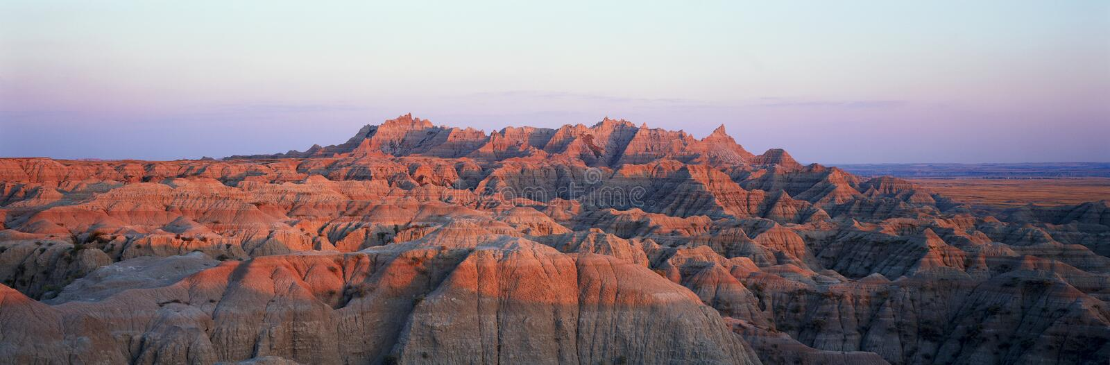 Sunset panoramic view of mountains in Badlands National Park in South Dakota royalty free stock images