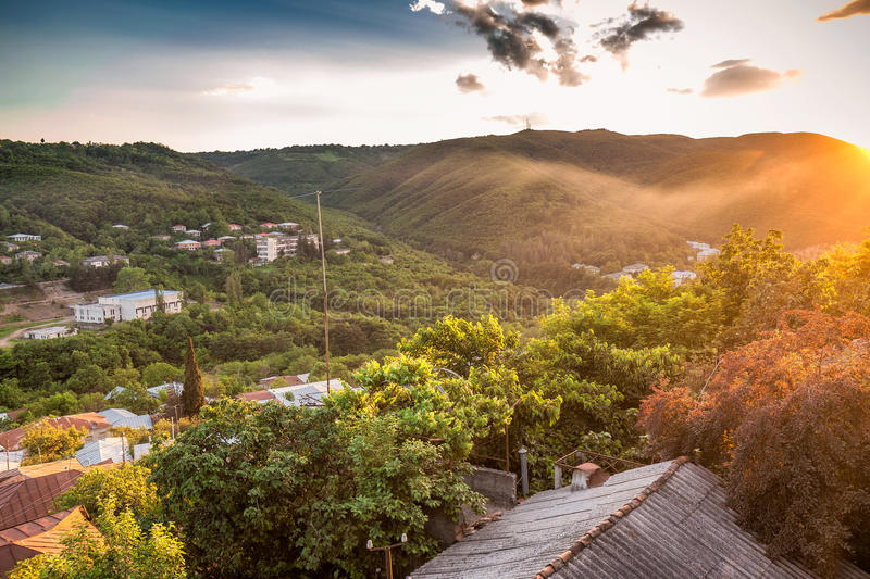 Sunset panoramic view. Old fortifications in sighnaghi the capital of the wine region Kakheti in Georgia caucasus royalty free stock photos