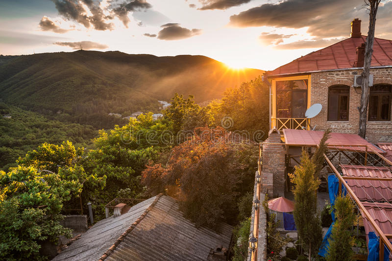 Sunset panoramic view. Old fortifications in sighnaghi the capital of the wine region Kakheti in Georgia caucasus stock photos