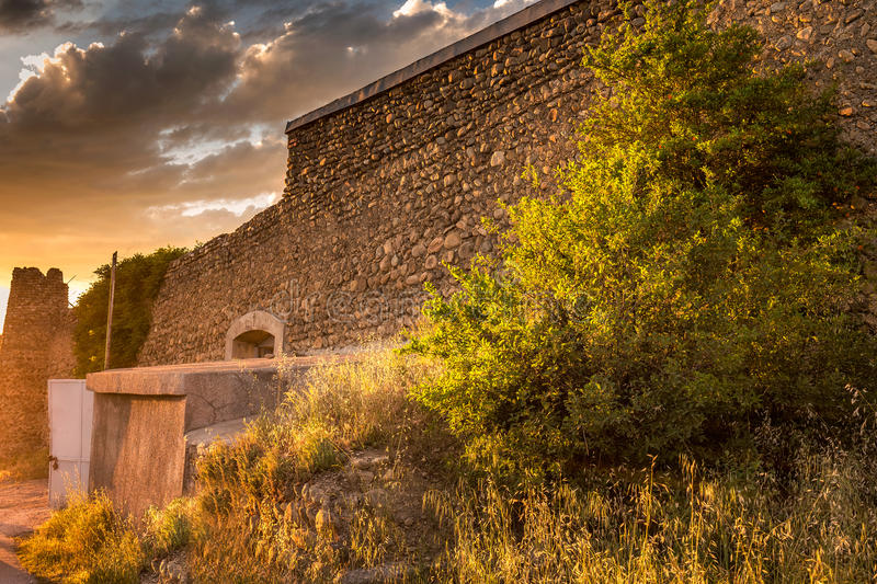 Sunset panoramic view. Old fortifications in sighnaghi the capital of the wine region Kakheti in Georgia caucasus royalty free stock images