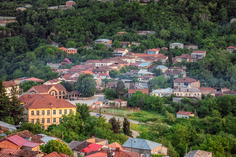 Sunset panoramic view. Old fortifications in sighnaghi the capital of the wine region Kakheti in Georgia caucasus royalty free stock image