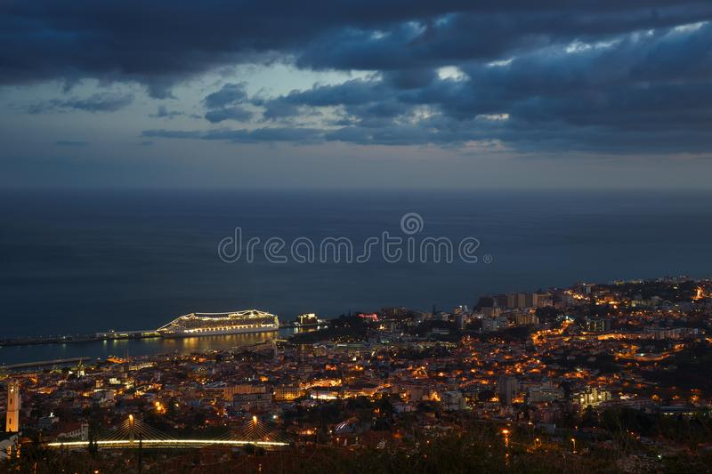 After sunset panoramic view to Funchal with atlantic ocean and cruise ship, Madeira stock photography