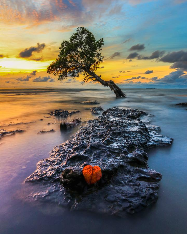 Sunset at Pantai Kuri Caddi royalty free stock photos