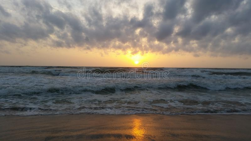 Sunset in paradise stock photography