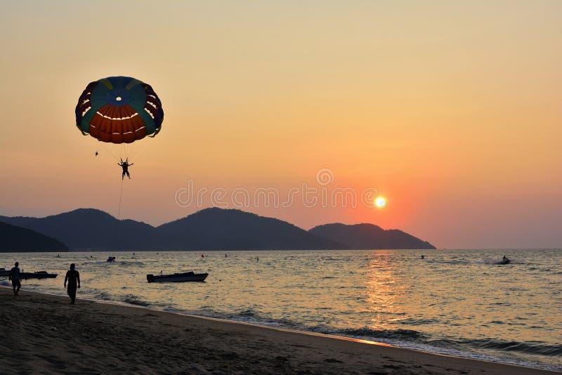 Sunset Parasailing royalty free stock photos