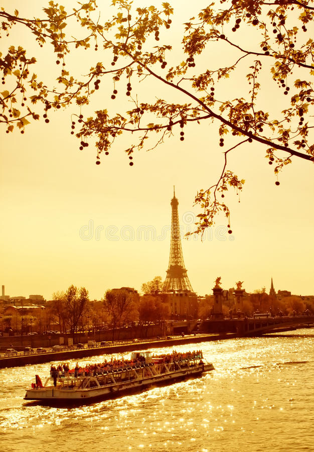 Sunset in Paris royalty free stock photos