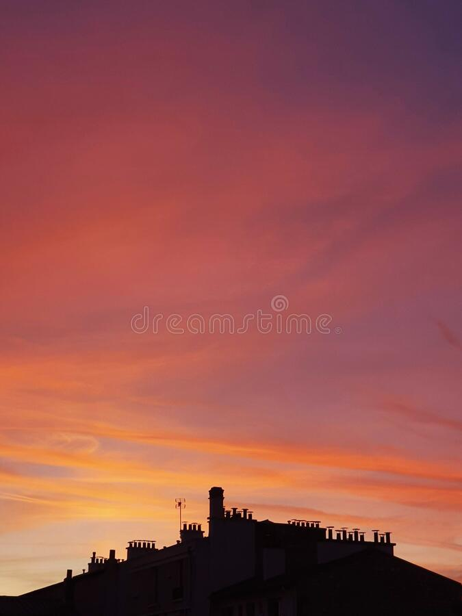 Sunset in Paris, red sky of Paris, France royalty free stock images