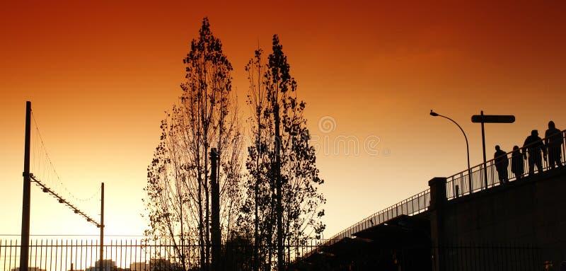 Sunset on paris suburb royalty free stock photos
