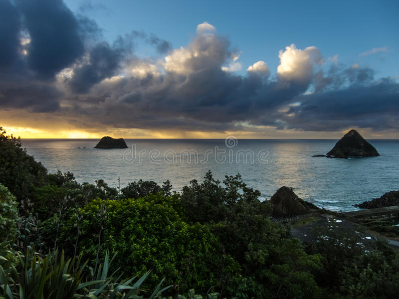 Sunset from Paritutu Rock royalty free stock photo