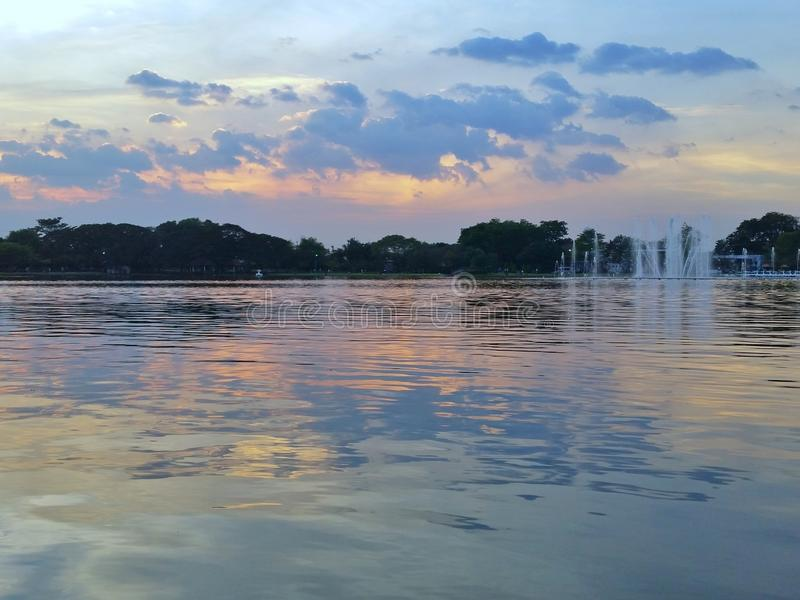 Sunset in the park. Beautiful sunset in rama9 Park stock photo