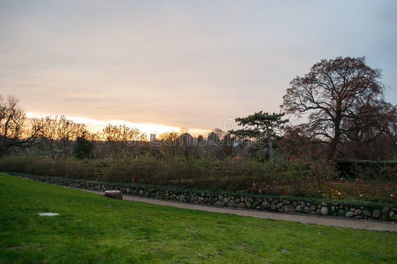 Sunset in a park in Vordingborg Denmark. Sunset in a park in town of Vordingborg Denmark stock images