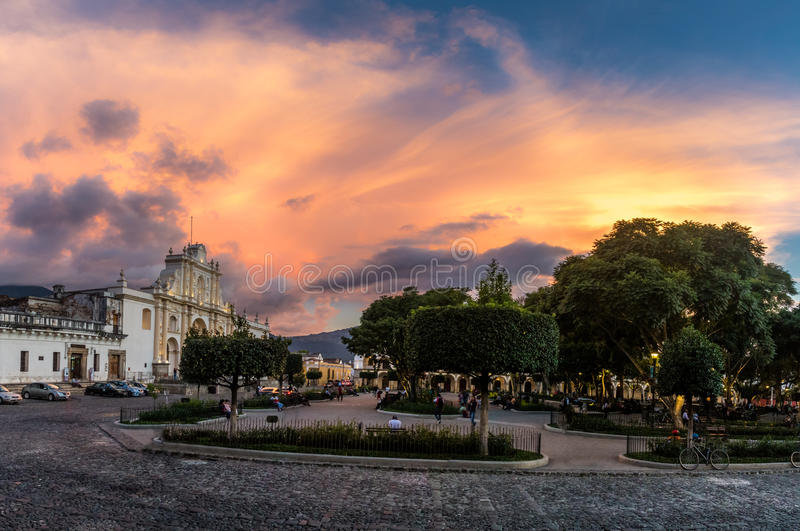 Sunset at Parque Central - Antigua, Guatemala stock photography