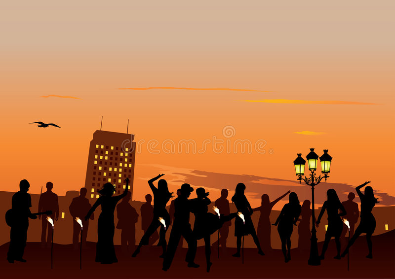 Download Sunset Party stock vector. Image of black, active, life - 9350902