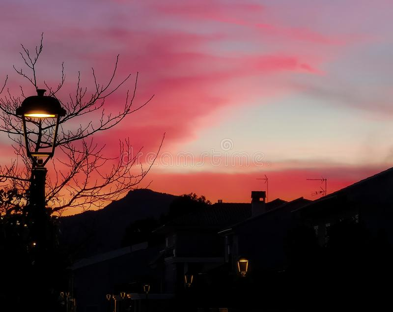 Sunset in pastel pink shades. Sunset in pastel pink tones in the village of Algimia stock photos