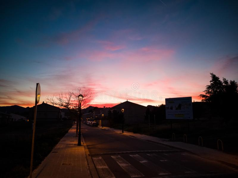Sunset in pastel pink shades. Sunset in pastel pink tones in the village of Algimia royalty free stock photography