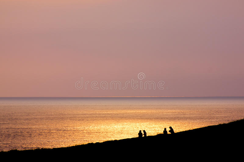Sunset with people shadow royalty free stock images