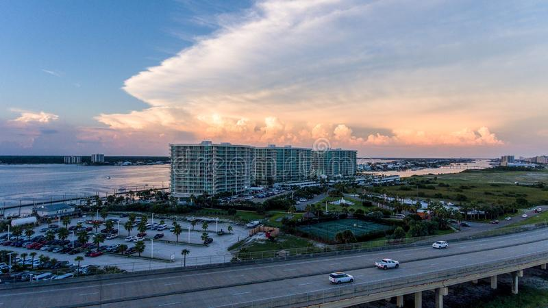 Sunset at Perdido Pass in Orange Beach, Alabama. Mobile, bay, seascape, evening, sky, beach, bridge, dusk, park, pier, waterfront, travel, usa royalty free stock image