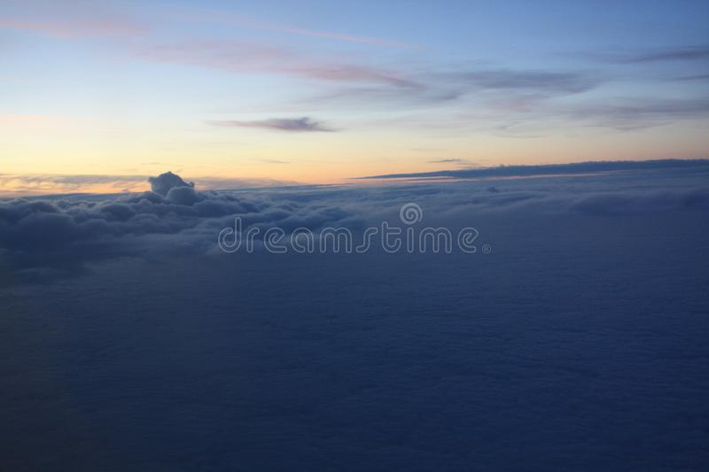 Sunset photo from the flying plane royalty free stock photos