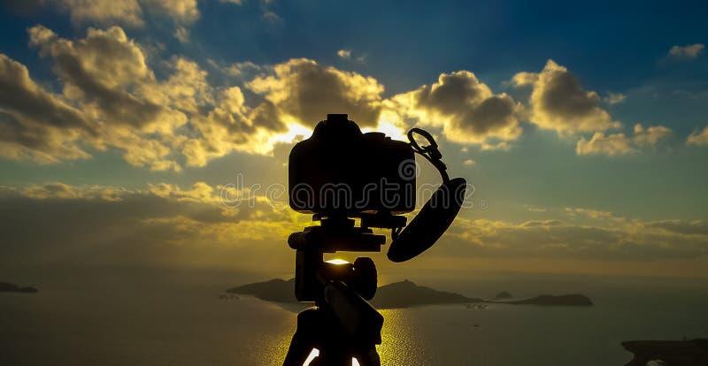 Turkey izmir photograhy equipment on sunset royalty free stock image