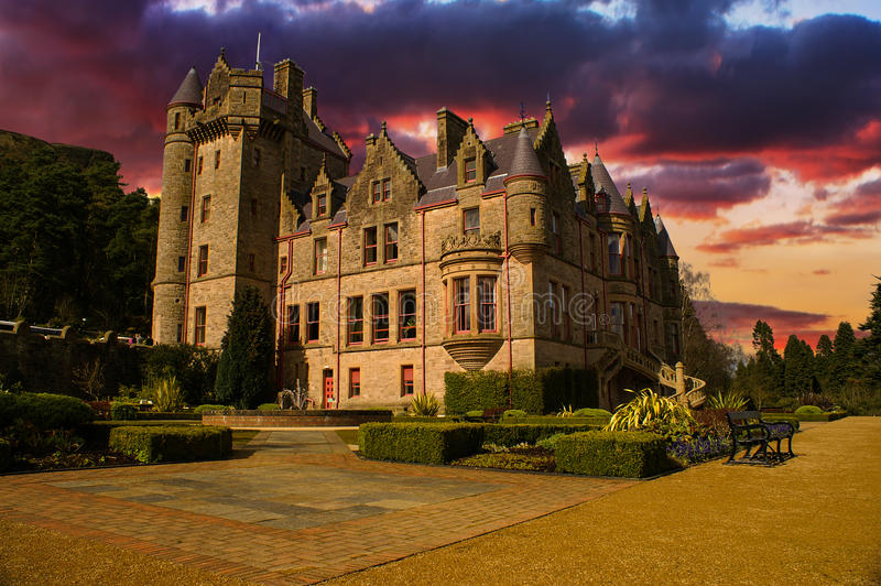 Sunset Picture of Belfast Castle in Northern Ireland. stock photo