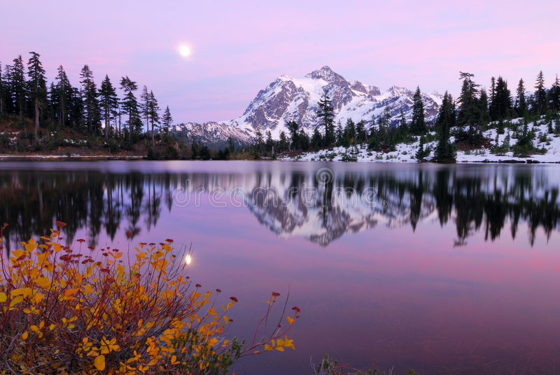Sunset at Picture Lake. Picture Lake with a reflection of Mount Shuksan stock photography