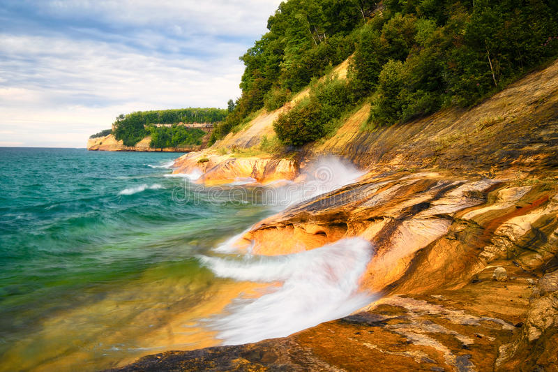 Sunset, Picture Rocks National Lakeshore, Michigan royalty free stock images