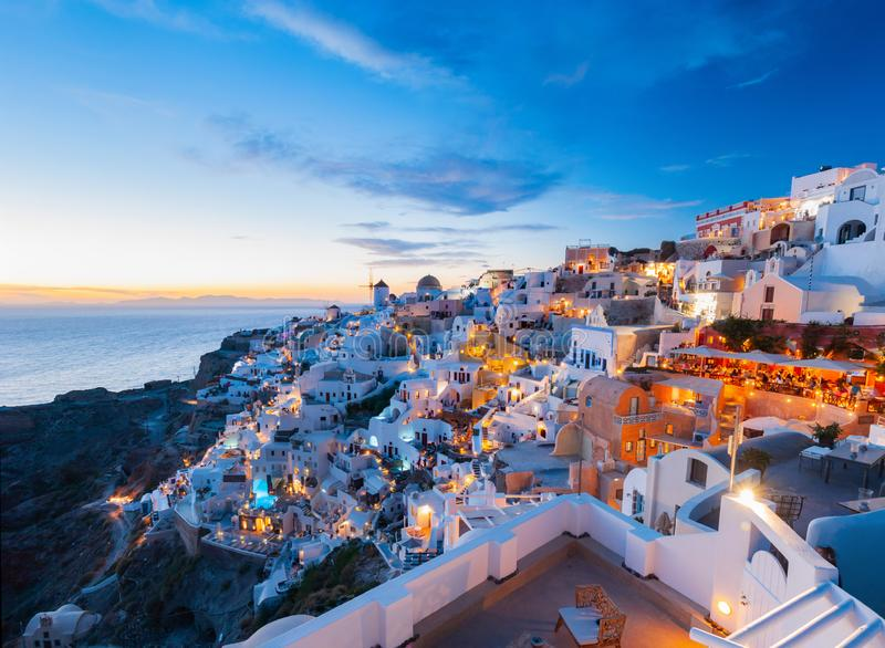 Sunset and the picturesque Oia village, Santorini, Greece. royalty free stock photo
