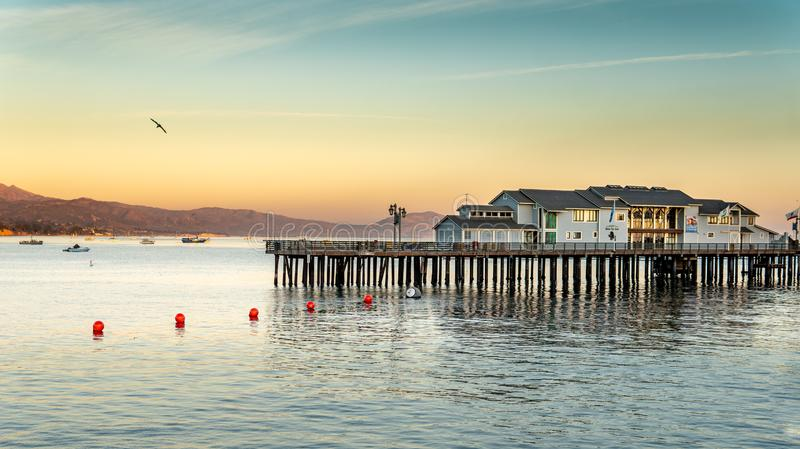 Sunset on the pier beach. Downtown Santa Barbara - Central California Coastal City, 28, architecture, landscape, mountains, nature, outdoors, sunset, america royalty free stock images