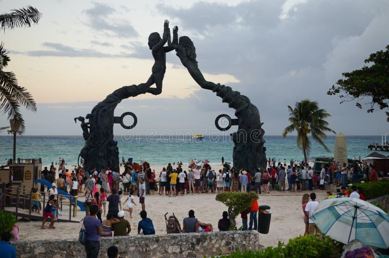 Sunset at Playa del Carmen royalty free stock images