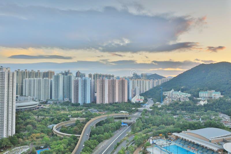 The sunset of Po Shun Road at TKO. View of Po Shun Road at Tseung Kwan O royalty free stock images