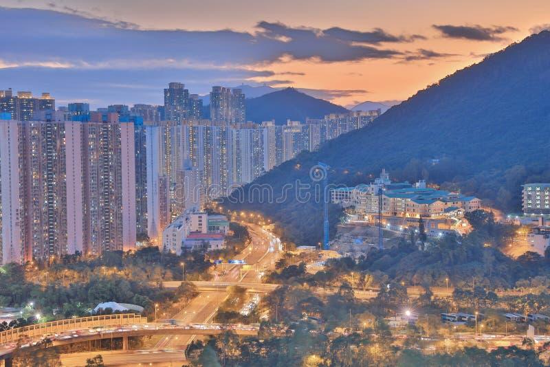 The sunset of Po Shun Road at TKO. View of Po Shun Road at Tseung Kwan O stock photos