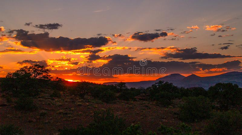 Fiery Skies over Capitol Reef National Park. Sunset Point in Capitol Reef National Park is located near Torrey, Utah in the heart of red rock country in Utah stock photography