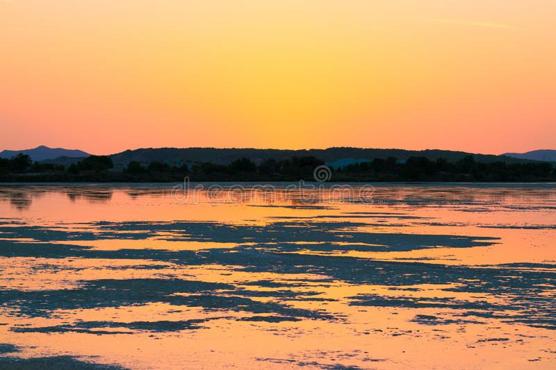 Download Sunset On The Pond Of Pink Flamingos In Chia, Sardinia. Stock Image - Image of idyllic, flamingo: 83724055