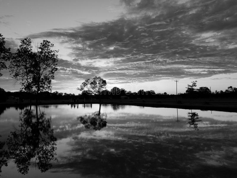 Sunset pond stock photos