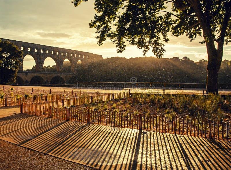 Sunset at Pont du Gard stock images