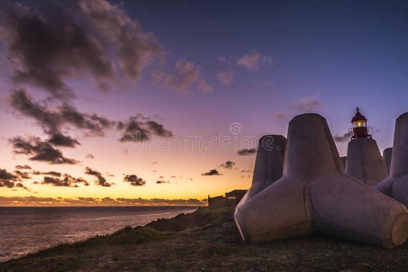 Sunset in Ponta Delgada, Portugal royalty free stock photo