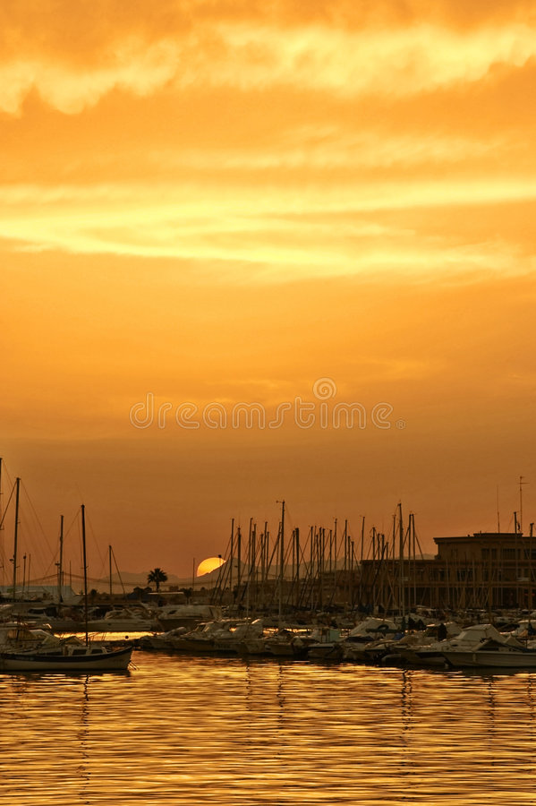 Sunset in port royalty free stock images
