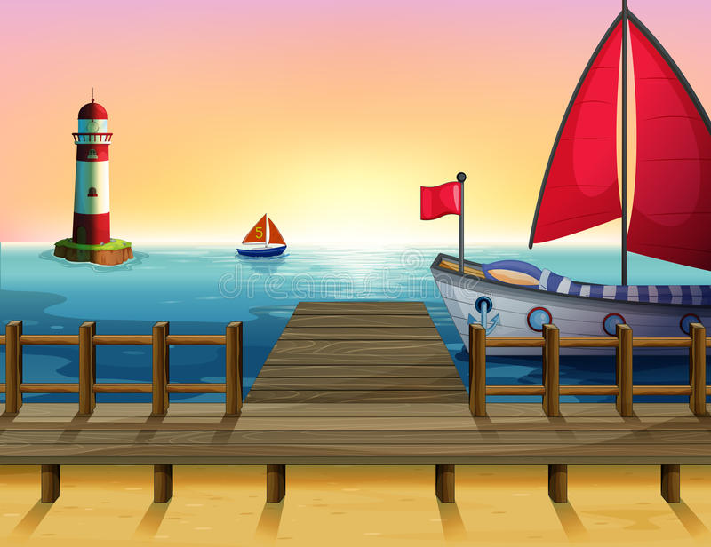 A sunset at the port vector illustration