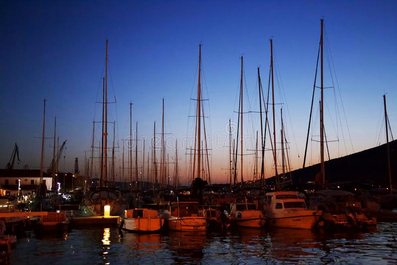 Sunset at the port for yachts. Croatia royalty free stock photos