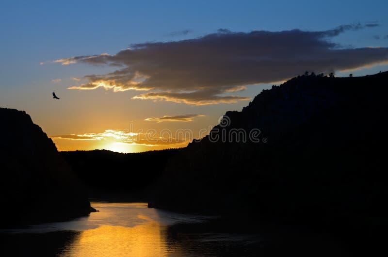 Sunset through Portas de Rodao stock photos