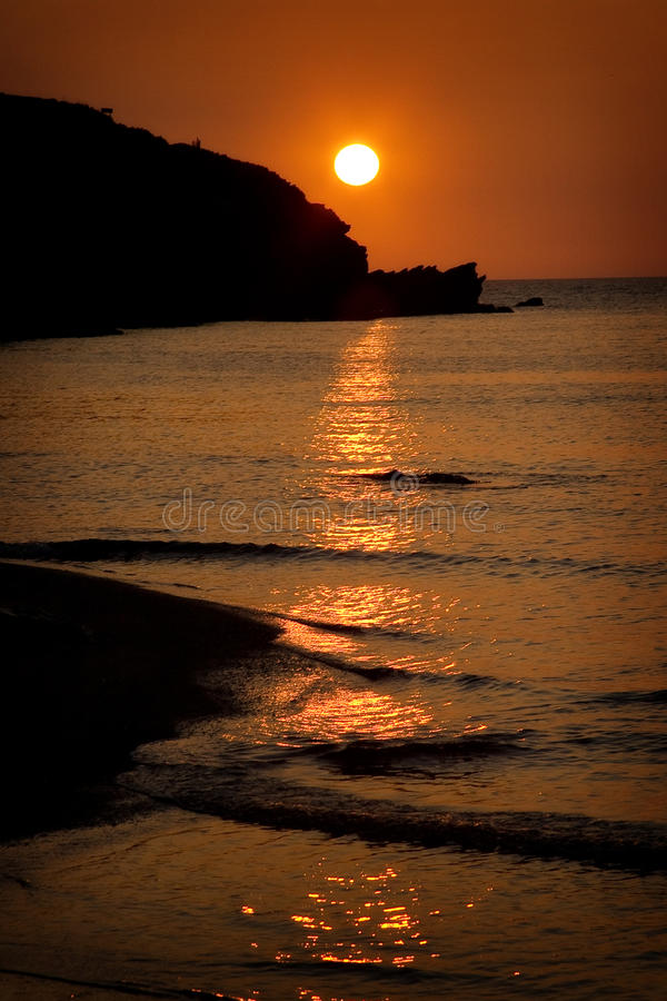 Sunset at Porth Beach, Cornwall, England stock photo