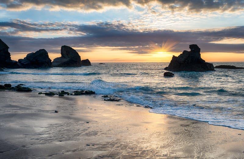 Sunset At Porthcothan Stock Photo